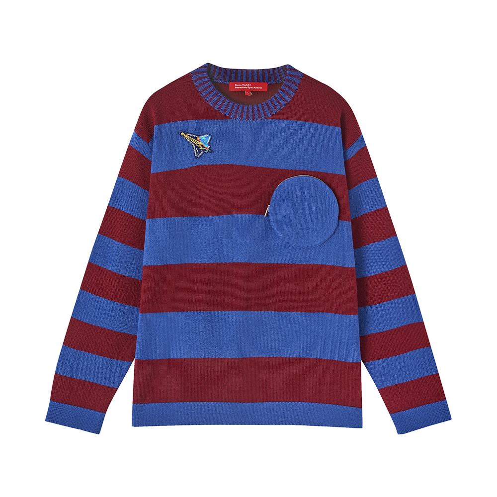 [AW17 ISA] Stripe Knit(Burgundy) STEREO-SHOP