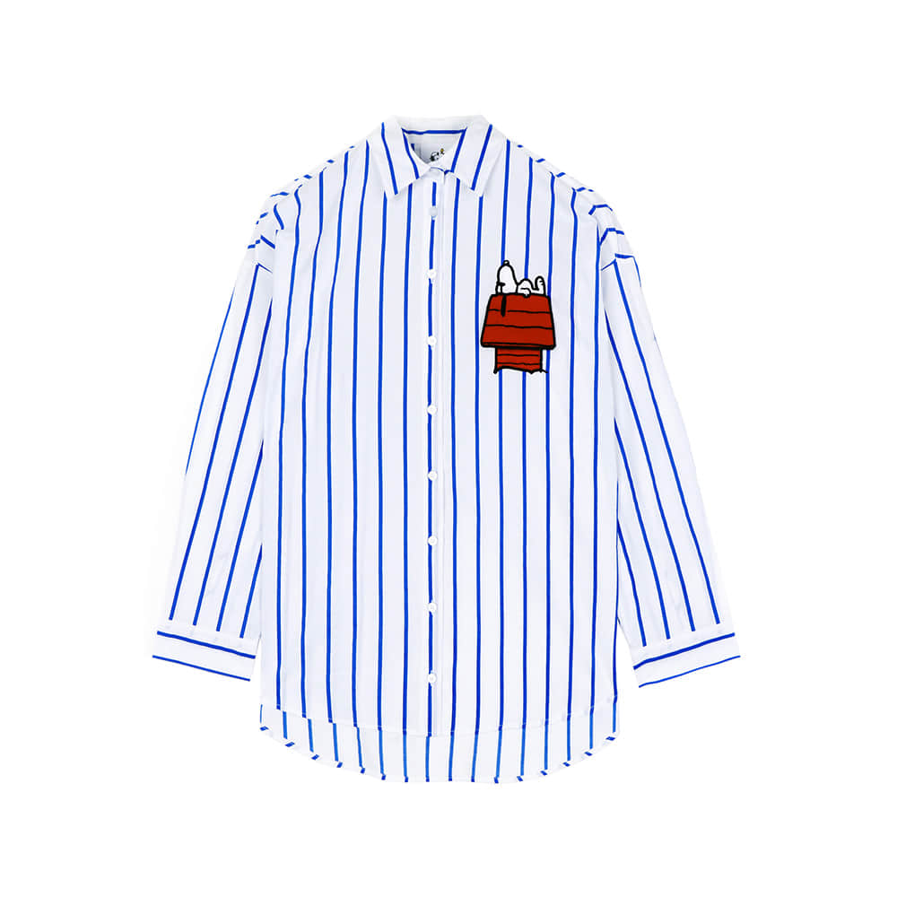 [SS18 Peanuts] Snoopy House Stripe Shirts(Blue) STEREO-SHOP