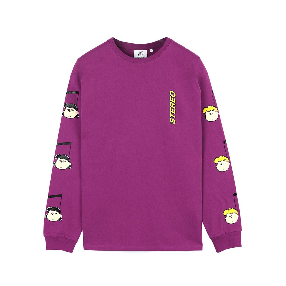 [SS18 Peanuts] Music Note Long Sleeve(Purple) STEREO-SHOP
