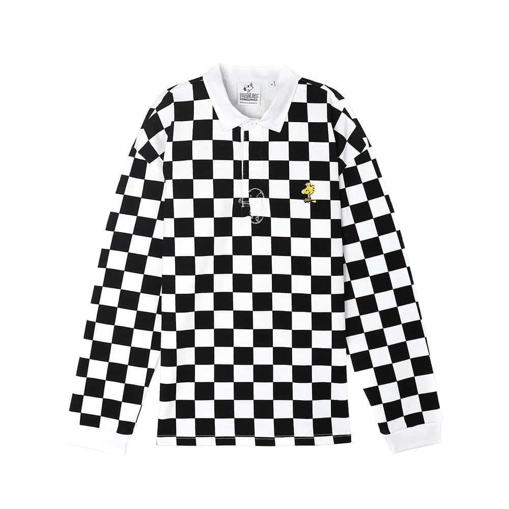 [SS18 Peanuts] Checker Rugby Shirts(Black) STEREO-SHOP