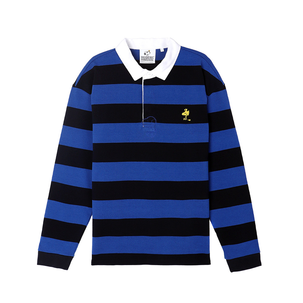 [SS18 Peanuts] Stripe Rugby Shirts(Blue) STEREO-SHOP