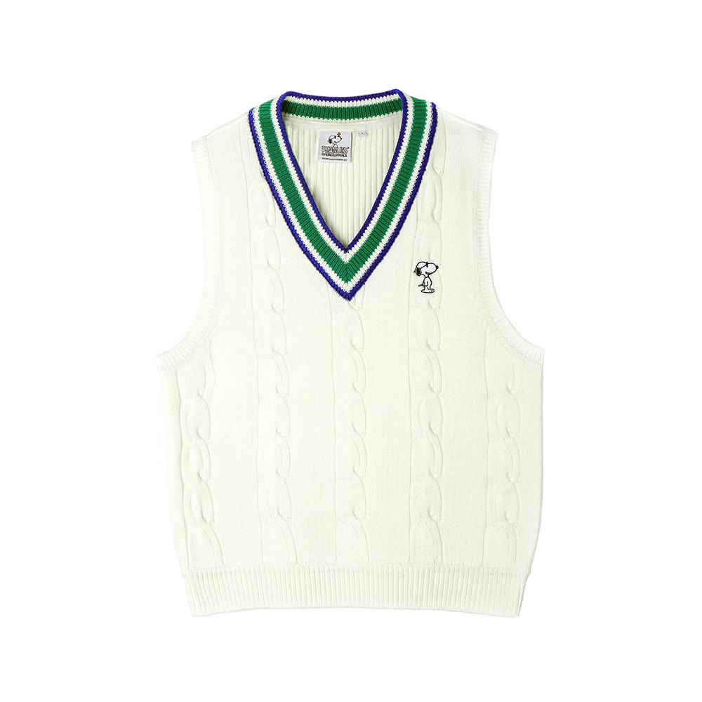 [SS18 Peanuts] Cable Knit Vest(White) STEREO-SHOP