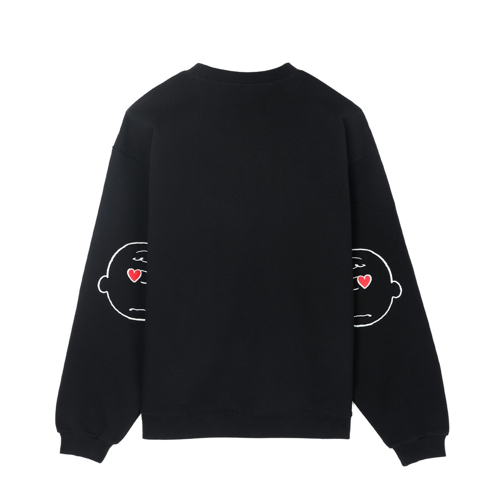 [SS18 Peanuts] Elbow Patch Sweatshirts(Black) STEREO-SHOP