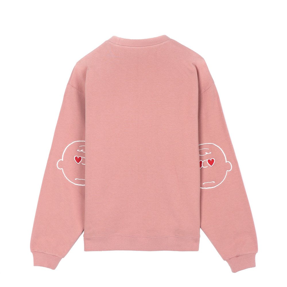 SS18 Peanuts] Elbow Patch Sweatshirts(Pink) STEREO-SHOP