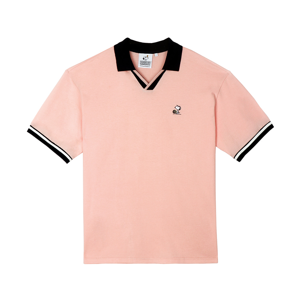 [SM18 Peanuts] Oversized Polo T-Shirts(Pink) STEREO-SHOP