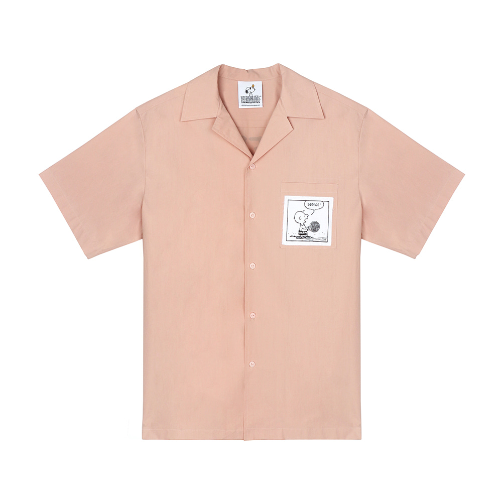 [SM18 Peanuts] Cotton S/S Shirts(Pink) STEREO-SHOP