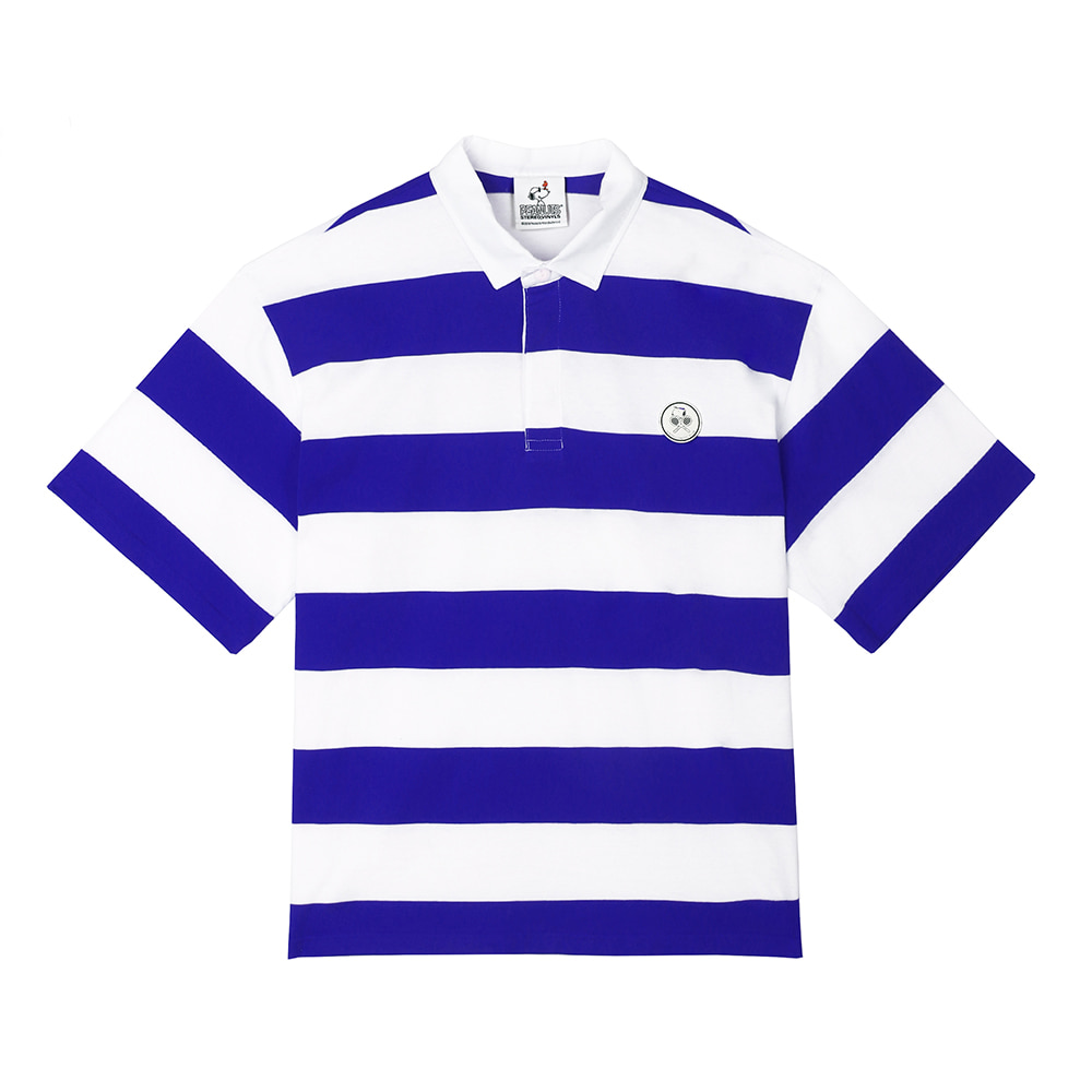 [SM18 Peanuts] Stripe Rugby Shirts(Blue) STEREO-SHOP
