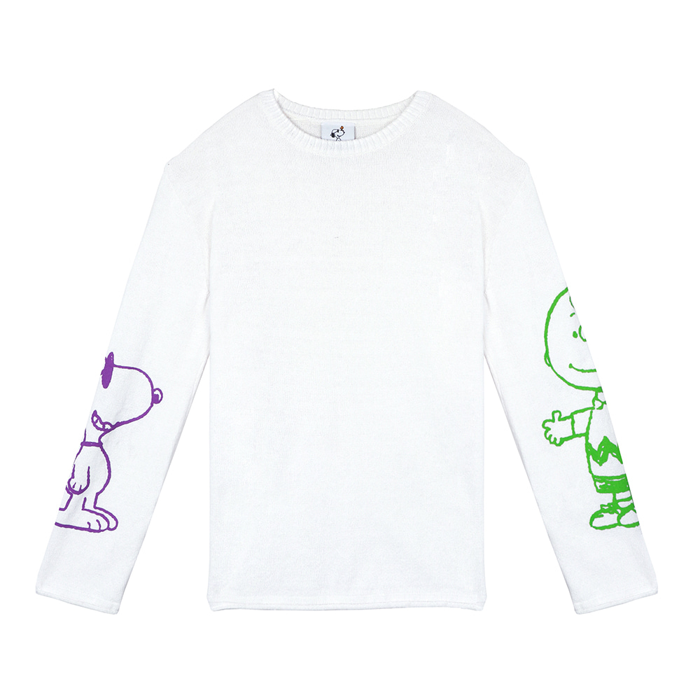 [SM18 Peanuts] Charlie & Joe Cool Knit(White) STEREO-SHOP