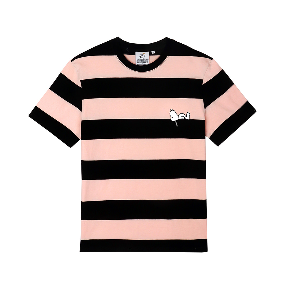 [SM18 Peanuts] Snoopy Stripe T-Shirts(Pink) STEREO-SHOP