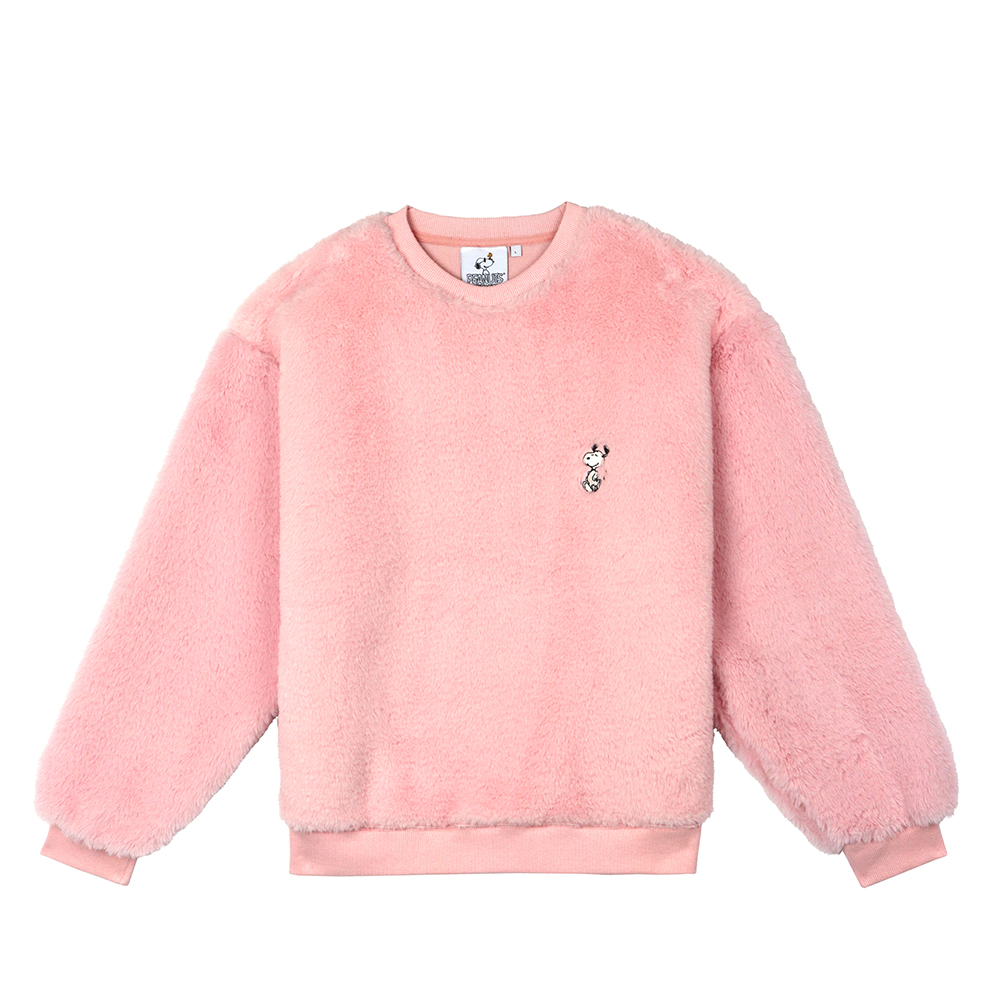 [FW18 Peanuts] Snoopy Fake Fur Sweatshirts(Pink) STEREO-SHOP