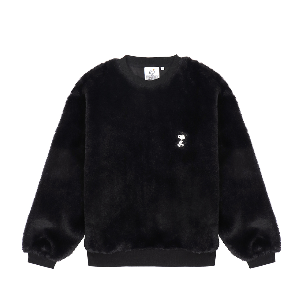 [FW18 Peanuts] Snoopy Fake Fur Sweatshirts(Black) STEREO-SHOP