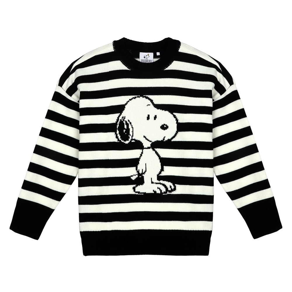 [FW18 Peanuts] Snoopy Stripe Pullover Knit(Black) STEREO-SHOP