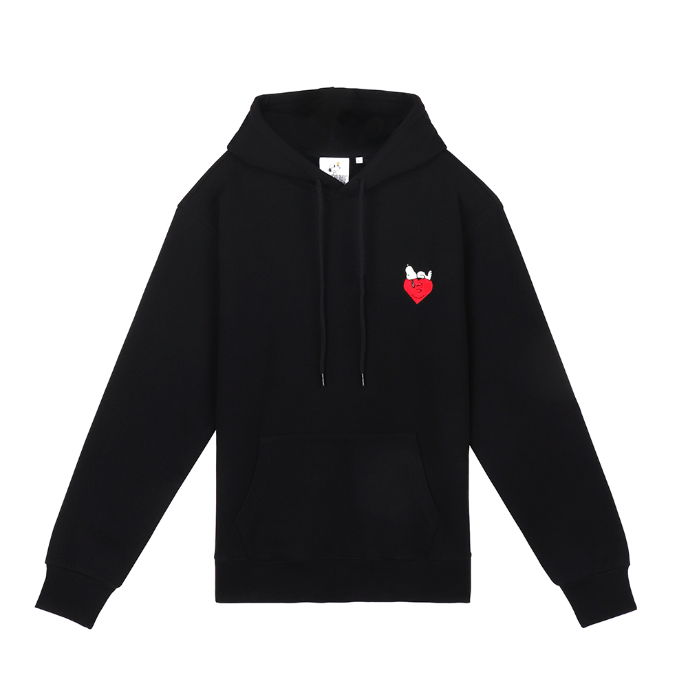 [FW18 Peanuts] Snoopy Heart Hoody(Black) STEREO-SHOP